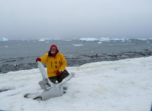 With a large whale bone in Antarctica