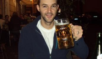 Kurt with a Litre of beer!