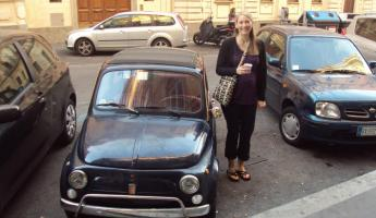 Cool Car in Rome, Italy on our way to the Colosseum