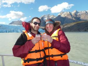 Enjoying pisco sours made with 10,000 year old glacial ice during our Grey Glacier boat tour