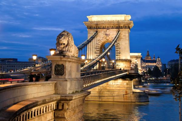 Famous Chain Bridge, linking historic Buda and modern Pest