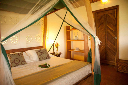 Many of the cabanas offer a 4 poster queen sized bed with netting