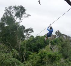 Ziplining above the forest canopy at Iguazu Falls