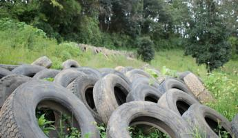 donated tires for the wall