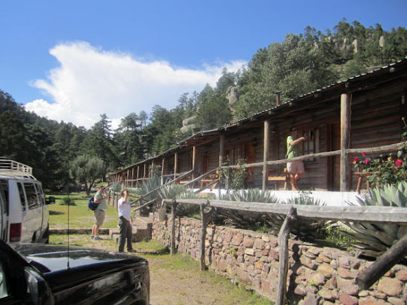 The lodge is built like a long, low, old-fashioned log cabin