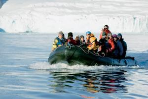 Cruising the chilly waters in the Zodiac