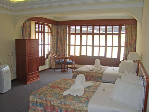 Spacious rooms are comfortably furnished
