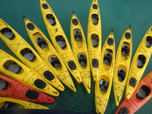 Kayaks await in Alaska