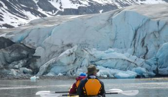Kayaking near the glaciers in Alaska