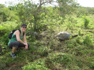 Hiking in search of giant tortoises.
