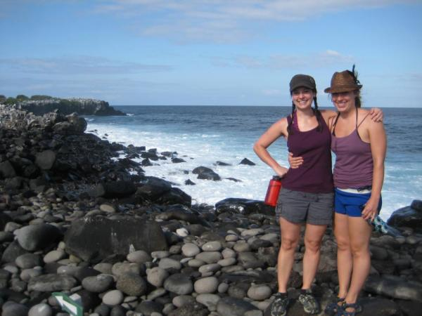 Travelers enjoying their Galapagos adventure near Punta Suarez, Espanola