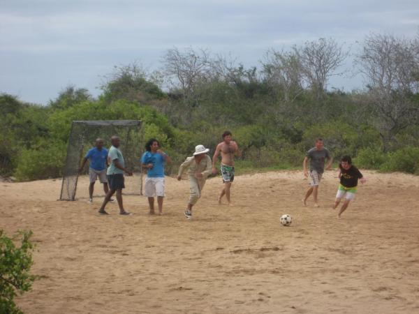 Passengers vs. the Crew soccer match on Floreana Island