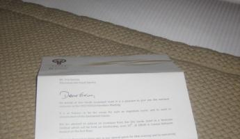 Welcome letter at the hotel in Guayaquil...fancy!