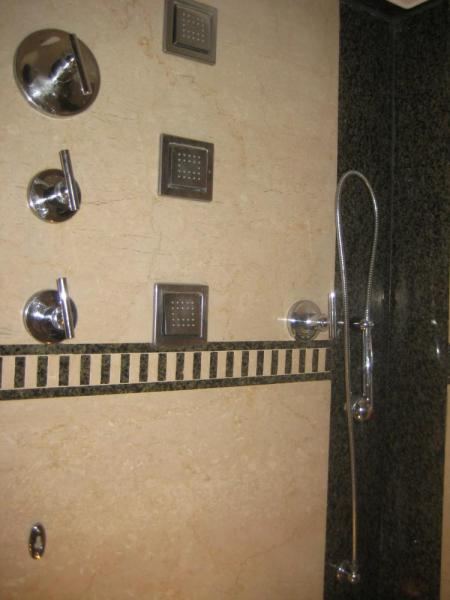 Amazing shower!!!  (there were 3 more shower heads on the ceiling)