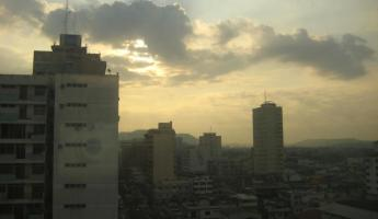 View of Guayaquil from our top floor room