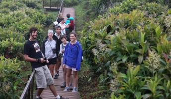 Travelers enjoying a guided hike around the Galapagos