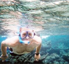 Aaron on a snorkeling trip to Hol Chan in Belize