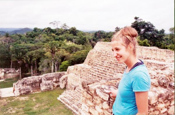 Beth at the top of a Maya ruin at Belizes Caracol