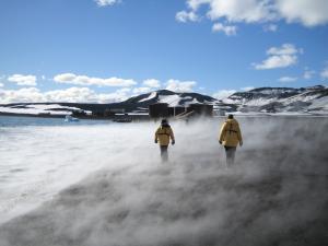 Mist from volcanic caldera