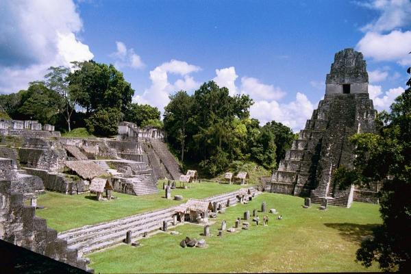 The central acropolis of the Maya ruin site Tikal