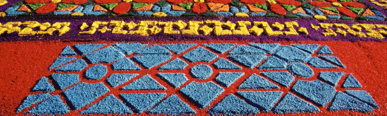 Colorful handmade carpet in for the Guatemal Easter Festivals