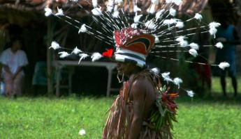 An intricate headdress of Melanesia