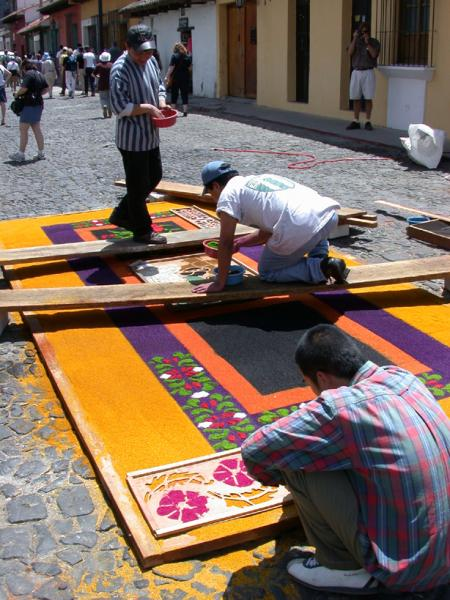 Carpet making process for Easter Festivals in Antigua