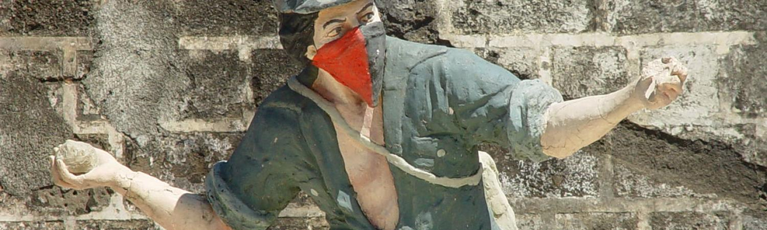 A statue of a Sandinista fighter in Leon City, Nicaragua