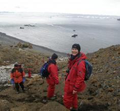 Erin at Brown Bluff, Antarctica