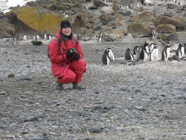 Erin and friends on Brown Bluff, Antarctica