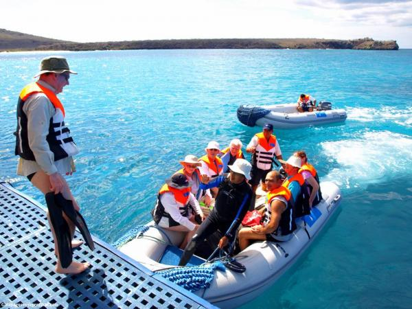 Boarding Zodiaks for a day of Galapagos exploration