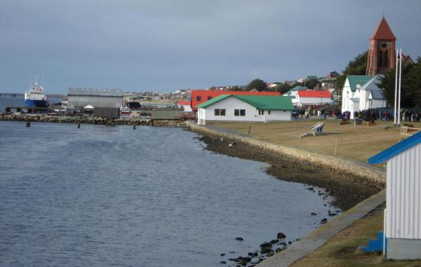 Walk along the seafront in Stanley on your Falkland Islands tour