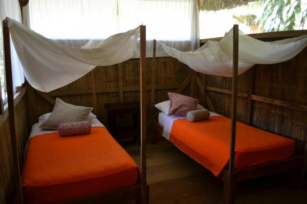 A variety of sleeping configurations are available for guests to this Amazon lodge
