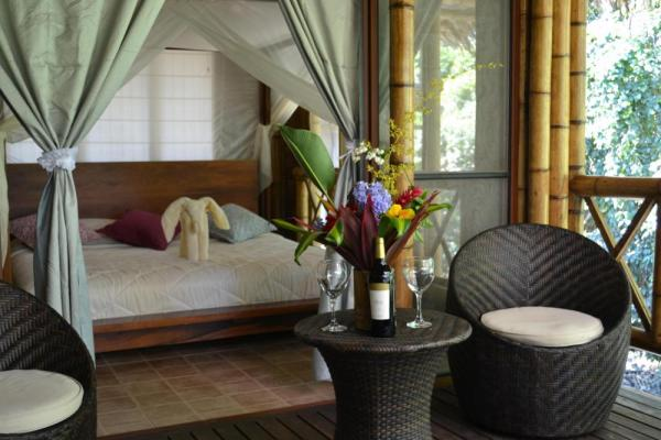 The 17 thatched-roof cabanas at La Selva Lodge are clean and comfortable
