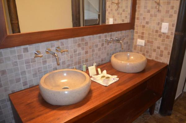 Newly remodeled bath facilities in each cabana