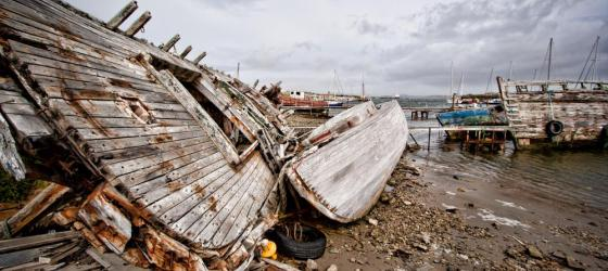 Ship graveyard in Stanley, Falkland Islands