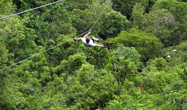 Soar over the jungle canopy on a zip line excursion