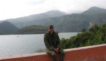 Jonathan at Lake on the way to Otavalo