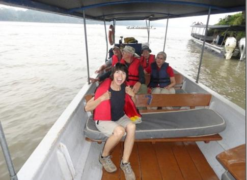 Two-hour boat ride down the Napo River