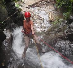 Rapelling the waterfall