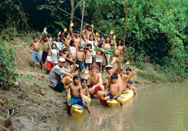 Meeting the local Huaorani community in the Ecuadorian Amazon
