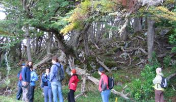 Listening to the guide in Tierra del Fuego National Park
