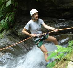 Waterfall rappel in the Costa Rica jungle