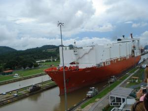 Ship in the locks of the Panama Canal