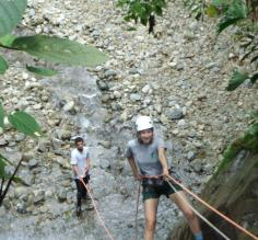Marissa on a waterfall rappel near Selva Bananito