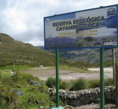 Entrance to the Cayambe Coca Ecological Reserve in Ecuador