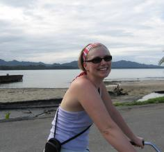 Riding a bike on the beach in Puerto Viejo