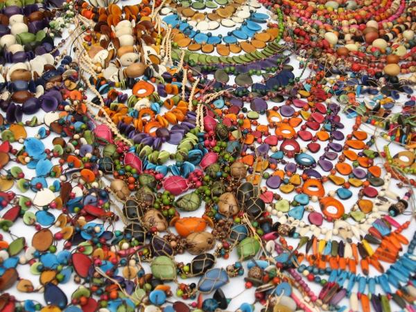 Colorful necklaces at the Otavalo Market