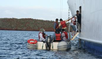 Disembarking the zodiaks