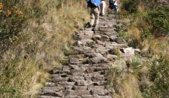 Persevering on the steep stairs of the Inca Trail